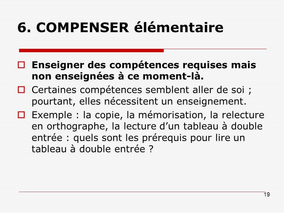 6. COMPENSER élémentaire Enseigner des compétences requises mais non enseignées à ce moment-là.