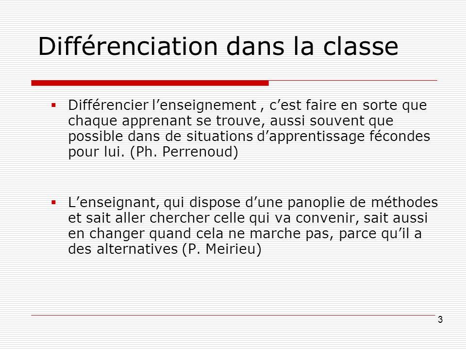 Différenciation dans la classe Différencier lenseignement, cest faire en sorte que chaque apprenant se trouve, aussi souvent que possible dans de situations dapprentissage fécondes pour lui.