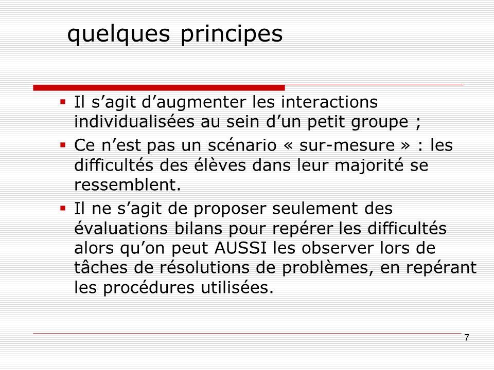 quelques principes Il sagit daugmenter les interactions individualisées au sein dun petit groupe ; Ce nest pas un scénario « sur-mesure » : les difficultés des élèves dans leur majorité se ressemblent.