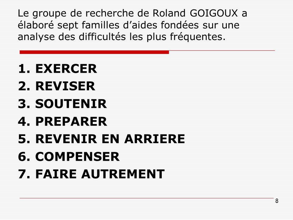 Le groupe de recherche de Roland GOIGOUX a élaboré sept familles daides fondées sur une analyse des difficultés les plus fréquentes. 1. EXERCER 2. REV