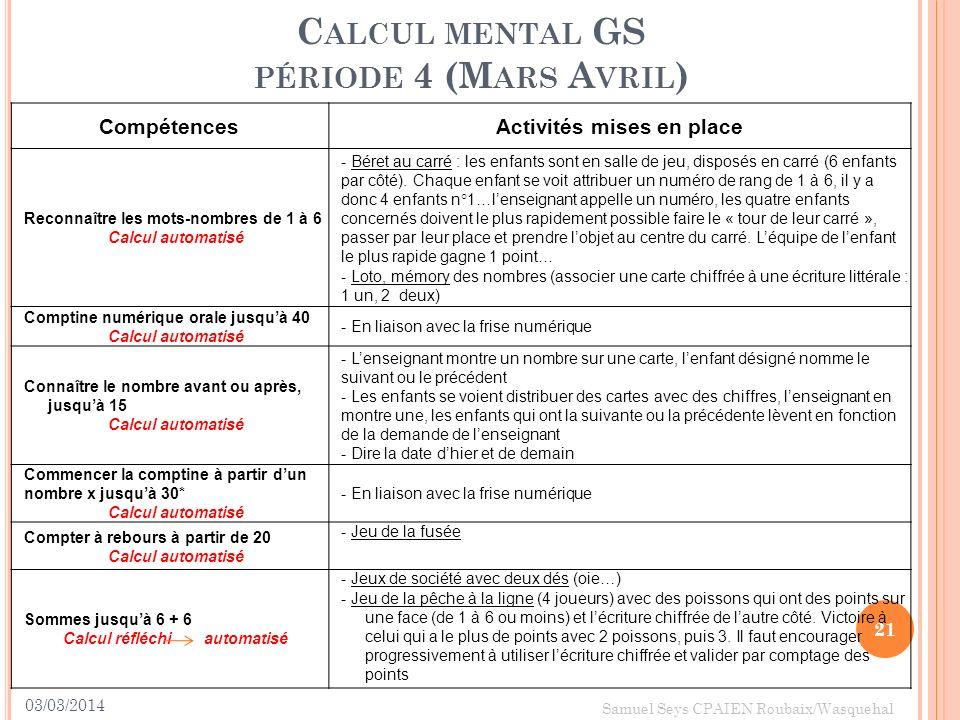 03/03/2014 21 Samuel Seys CPAIEN Roubaix/Wasquehal C ALCUL MENTAL GS PÉRIODE 4 (M ARS A VRIL ) CompétencesActivités mises en place Reconnaître les mot