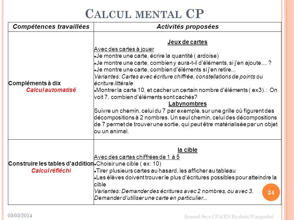 03/03/2014 24 Samuel Seys CPAIEN Roubaix/Wasquehal C ALCUL MENTAL CP Compétences travailléesActivités proposées Compléments à dix Calcul automatisé Je