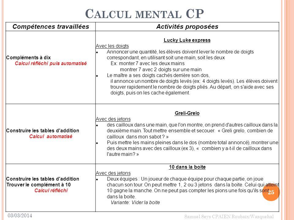 03/03/2014 25 Samuel Seys CPAIEN Roubaix/Wasquehal C ALCUL MENTAL CP Compétences travailléesActivités proposées Compléments à dix Calcul réfléchi puis