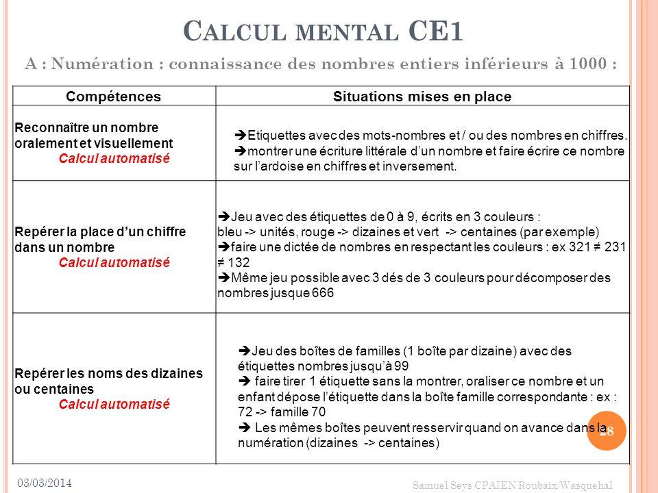 03/03/2014 28 Samuel Seys CPAIEN Roubaix/Wasquehal C ALCUL MENTAL CE1 A : Numération : connaissance des nombres entiers inférieurs à 1000 : Compétence