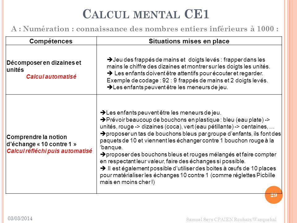 03/03/2014 29 Samuel Seys CPAIEN Roubaix/Wasquehal C ALCUL MENTAL CE1 A : Numération : connaissance des nombres entiers inférieurs à 1000 : Compétence