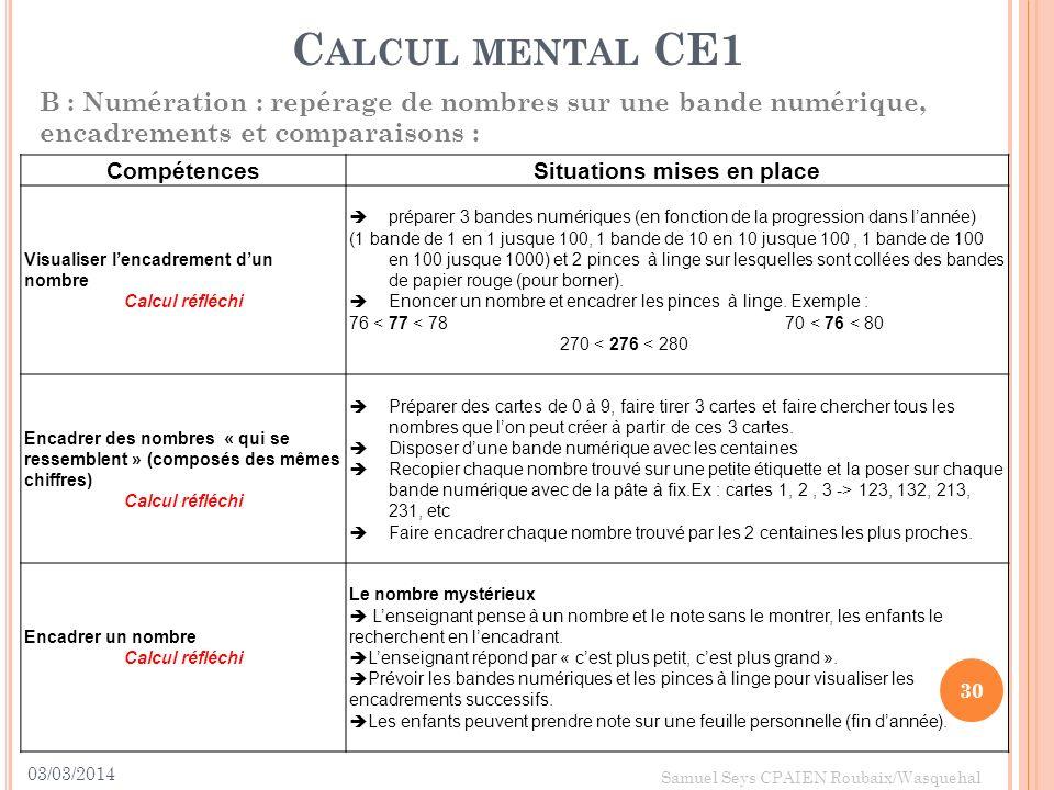 03/03/2014 30 Samuel Seys CPAIEN Roubaix/Wasquehal C ALCUL MENTAL CE1 B : Numération : repérage de nombres sur une bande numérique, encadrements et co
