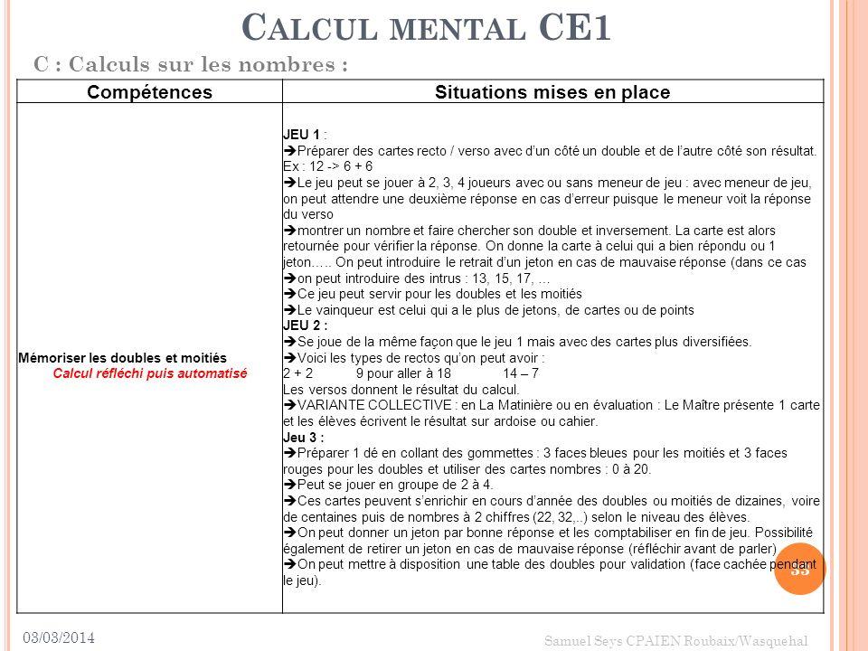 03/03/2014 33 Samuel Seys CPAIEN Roubaix/Wasquehal C ALCUL MENTAL CE1 C : Calculs sur les nombres : CompétencesSituations mises en place Mémoriser les