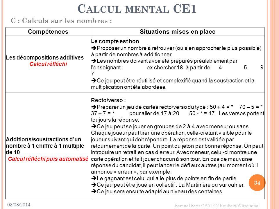03/03/2014 34 Samuel Seys CPAIEN Roubaix/Wasquehal C ALCUL MENTAL CE1 C : Calculs sur les nombres : CompétencesSituations mises en place Les décomposi