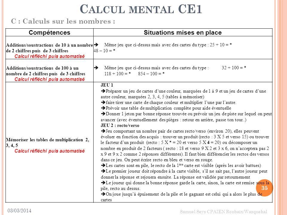 03/03/2014 35 Samuel Seys CPAIEN Roubaix/Wasquehal C ALCUL MENTAL CE1 C : Calculs sur les nombres : CompétencesSituations mises en place Additions/sou