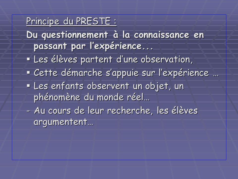Principe du PRESTE : Du questionnement à la connaissance en passant par lexpérience... Les élèves partent dune observation, Les élèves partent dune ob
