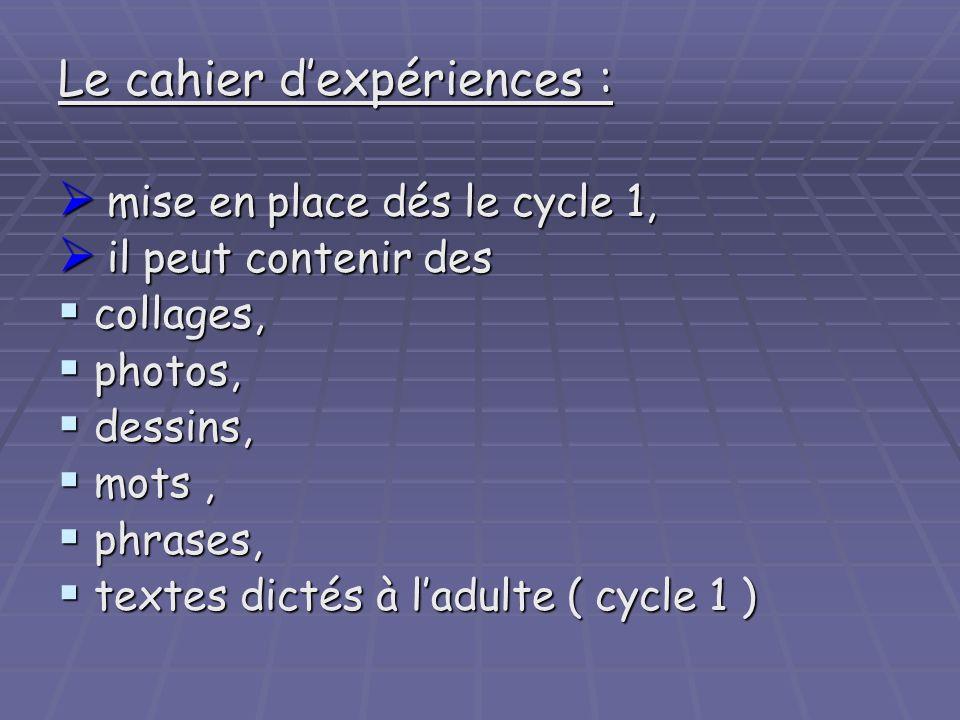 Le cahier dexpériences : mise en place dés le cycle 1, mise en place dés le cycle 1, il peut contenir des il peut contenir des collages, collages, pho