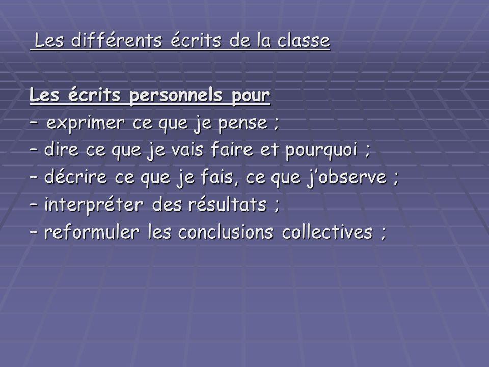 Les différents écrits de la classe Les différents écrits de la classe Les écrits personnels pour – exprimer ce que je pense ; – dire ce que je vais fa