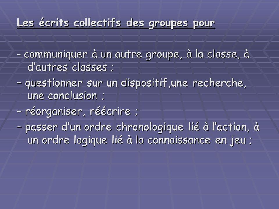 Les écrits collectifs des groupes pour – communiquer à un autre groupe, à la classe, à dautres classes ; – questionner sur un dispositif,une recherche
