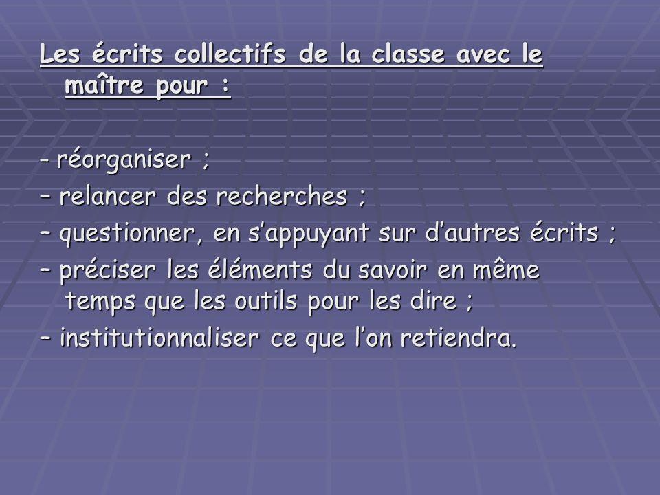 Les écrits collectifs de la classe avec le maître pour : – réorganiser ; – relancer des recherches ; – questionner, en sappuyant sur dautres écrits ;