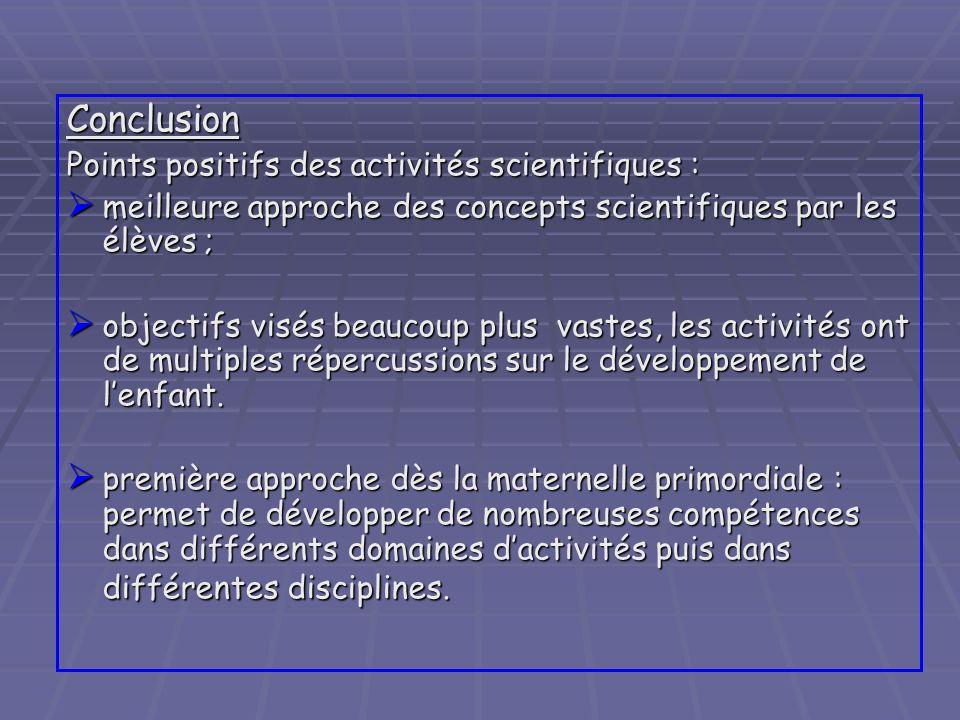 Conclusion Points positifs des activités scientifiques : meilleure approche des concepts scientifiques par les élèves ; meilleure approche des concept