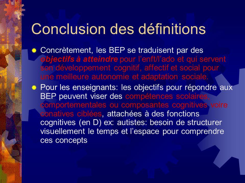 Conclusion des définitions Concrètement, les BEP se traduisent par des objectifs à atteindre pour lenft/lado et qui servent son développement cognitif