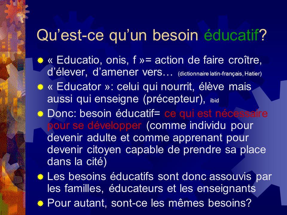 Quest-ce quun besoin éducatif? « Educatio, onis, f »= action de faire croître, délever, damener vers… (dictionnaire latin-français, Hatier) « Educator