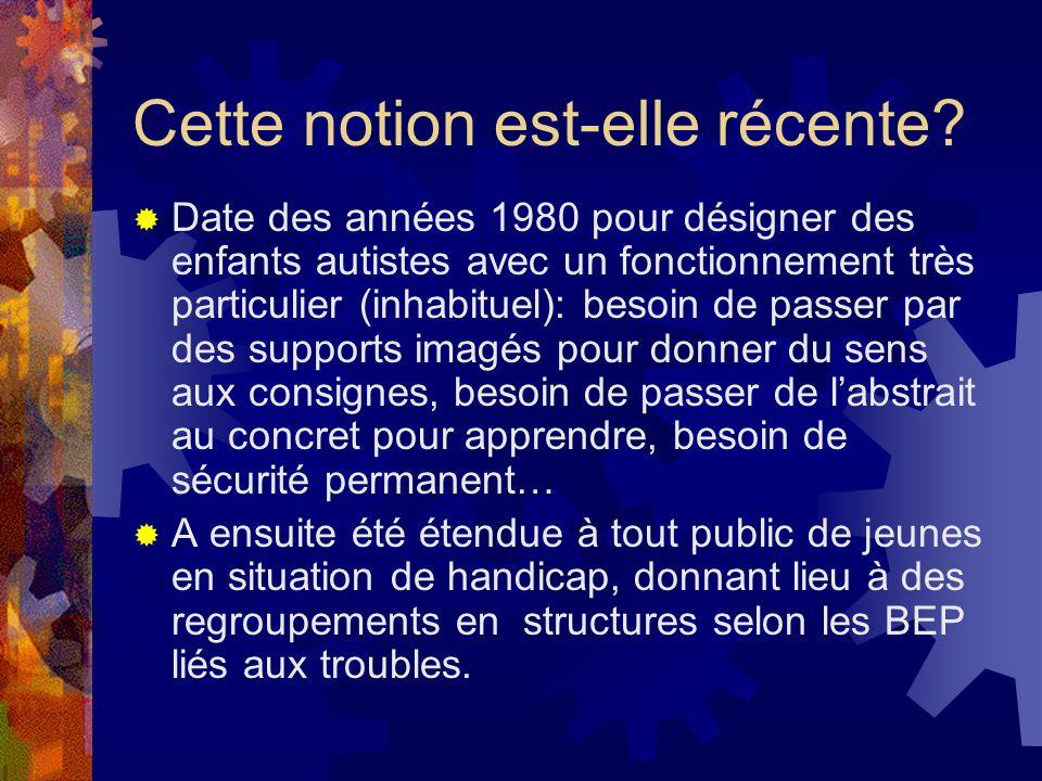Notion récente (suite)/ Structures regroupant des jeunes à BEP liés à leurs troubles OCDE (2000): BEP A (élèves aveugles, mal-voyants, sourds, mal-entendants, RM sévère et profond, polyhandicap), B (difficultés et trbl dapprentissage non A ni C) ou C (manques socioculturels ou linguistiques, milieux défavo ou atypiques) Puis notion étendue aux jeunes « nouveaux arrivants », intellectuellement précoces, en situation dillétrisme, « dys », élèves en difficultés scolaires graves et durables (2003, Vichy, université dautomne) Lidée: ces élèves « ne pourraient être scolarisés dans de bonnes conditions que si on leur prête une attention particulière pour répondre aux besoins qui leur sont propres » J.Le Breton, mai 2007, XYZep.