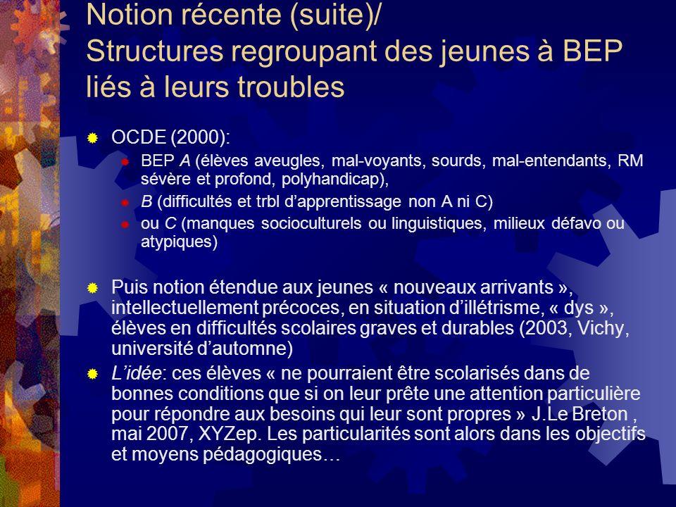 Notion récente (suite)/ Structures regroupant des jeunes à BEP liés à leurs troubles OCDE (2000): BEP A (élèves aveugles, mal-voyants, sourds, mal-ent
