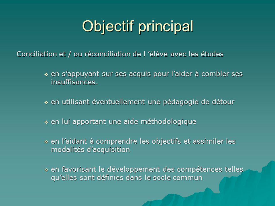 Objectif principal Conciliation et / ou réconciliation de l élève avec les études en sappuyant sur ses acquis pour laider à combler ses insuffisances.