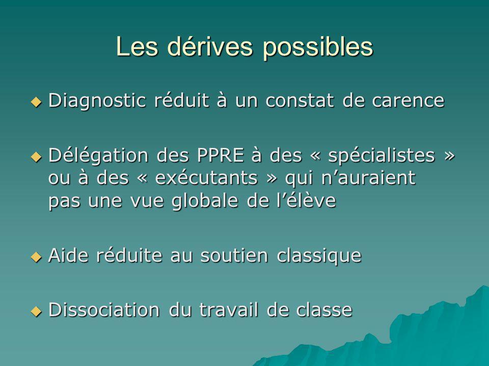 Les dérives possibles Diagnostic réduit à un constat de carence Diagnostic réduit à un constat de carence Délégation des PPRE à des « spécialistes » o