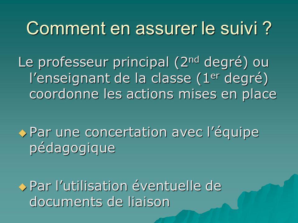 Comment en assurer le suivi ? Le professeur principal (2 nd degré) ou lenseignant de la classe (1 er degré) coordonne les actions mises en place Par u