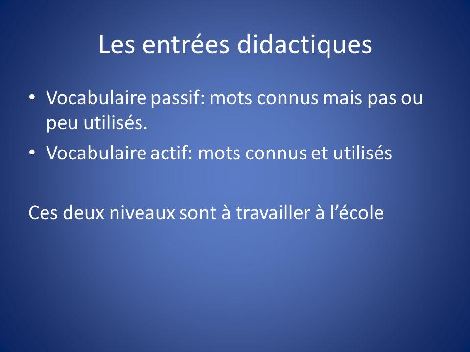 Les entrées didactiques Vocabulaire passif: mots connus mais pas ou peu utilisés. Vocabulaire actif: mots connus et utilisés Ces deux niveaux sont à t