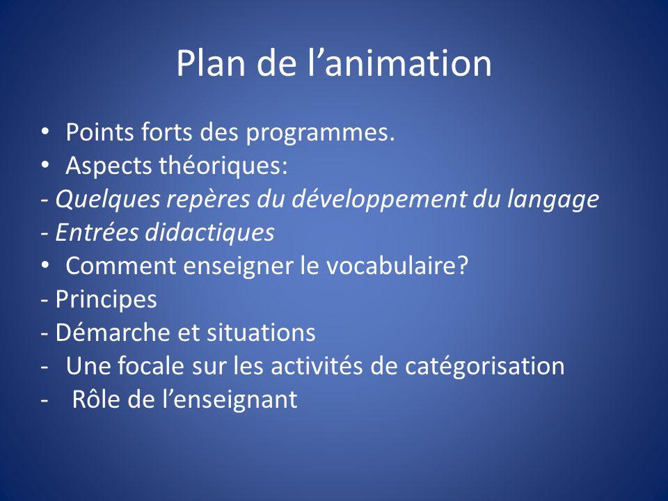 Plan de lanimation Points forts des programmes. Aspects théoriques: - Quelques repères du développement du langage - Entrées didactiques Comment ensei
