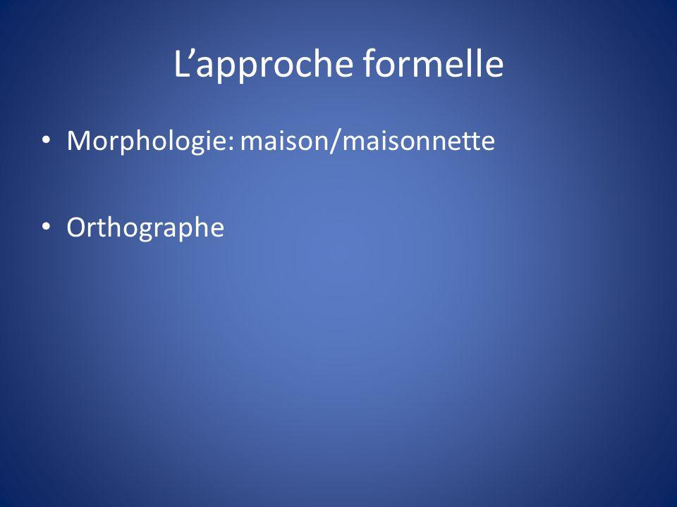 Lapproche formelle Morphologie: maison/maisonnette Orthographe