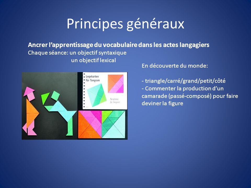 Principes généraux En découverte du monde: - triangle/carré/grand/petit/côté - Commenter la production dun camarade (passé-composé) pour faire deviner