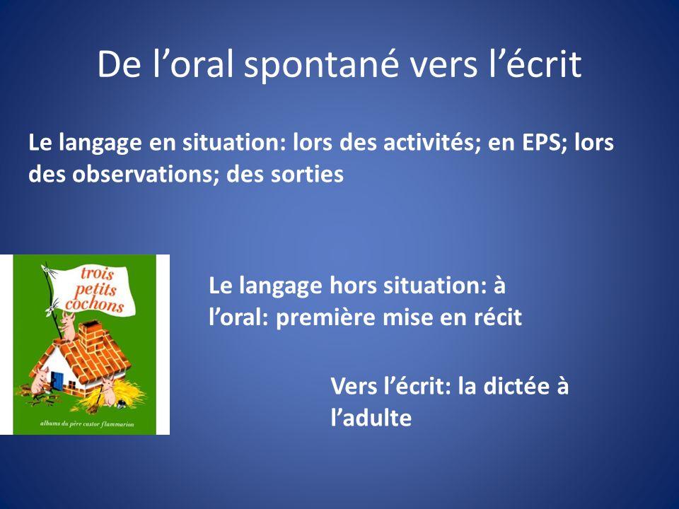 De loral spontané vers lécrit Le langage en situation: lors des activités; en EPS; lors des observations; des sorties Le langage hors situation: à lor
