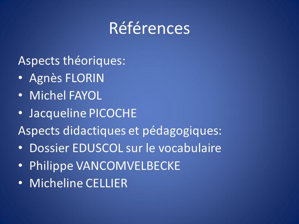 Références Aspects théoriques: Agnès FLORIN Michel FAYOL Jacqueline PICOCHE Aspects didactiques et pédagogiques: Dossier EDUSCOL sur le vocabulaire Ph