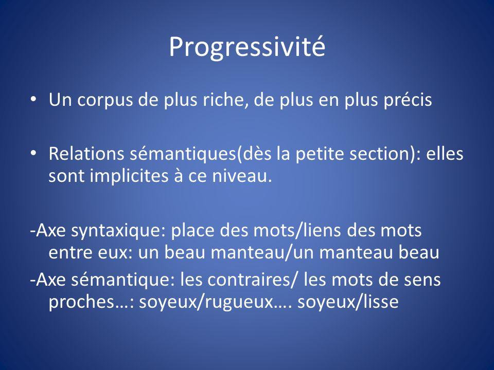 Progressivité Un corpus de plus riche, de plus en plus précis Relations sémantiques(dès la petite section): elles sont implicites à ce niveau. -Axe sy