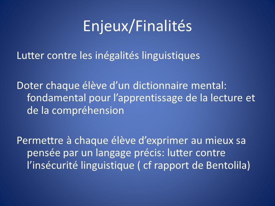 Enjeux/Finalités Lutter contre les inégalités linguistiques Doter chaque élève dun dictionnaire mental: fondamental pour lapprentissage de la lecture