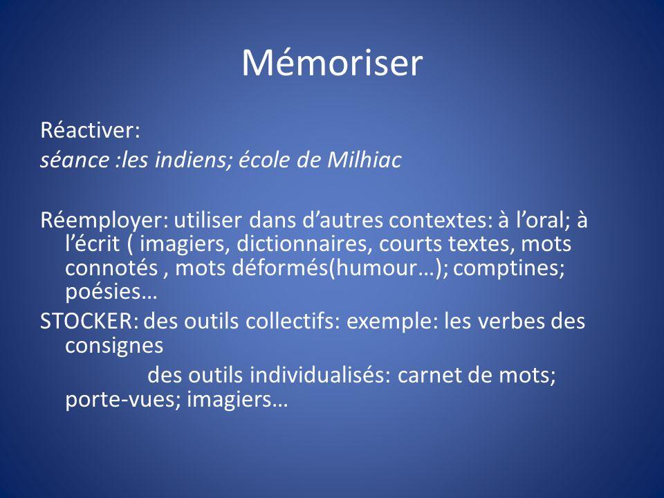 Mémoriser Réactiver: séance :les indiens; école de Milhiac Réemployer: utiliser dans dautres contextes: à loral; à lécrit ( imagiers, dictionnaires, c