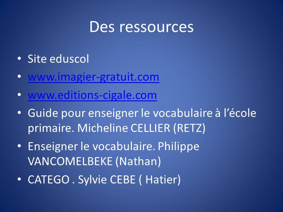 Des ressources Site eduscol www.imagier-gratuit.com www.editions-cigale.com Guide pour enseigner le vocabulaire à lécole primaire. Micheline CELLIER (