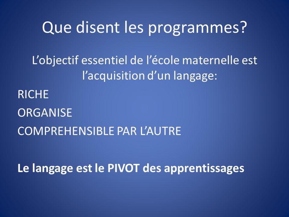Que disent les programmes? Lobjectif essentiel de lécole maternelle est lacquisition dun langage: RICHE ORGANISE COMPREHENSIBLE PAR LAUTRE Le langage