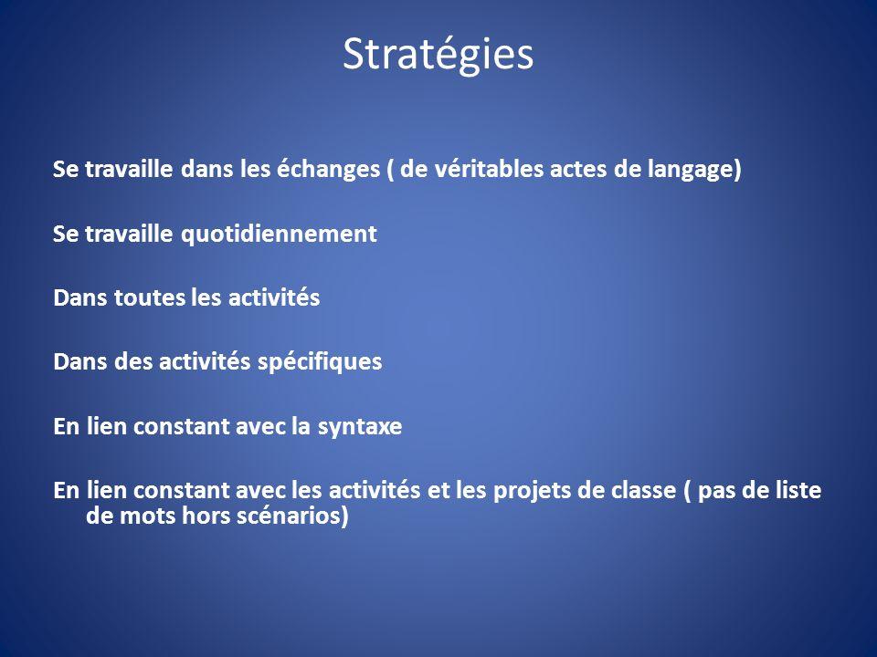 Stratégies Se travaille dans les échanges ( de véritables actes de langage) Se travaille quotidiennement Dans toutes les activités Dans des activités