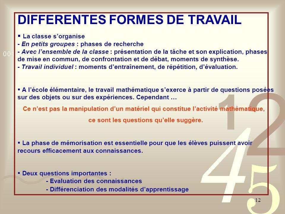 12 DIFFERENTES FORMES DE TRAVAIL La classe sorganise - En petits groupes : phases de recherche - Avec lensemble de la classe : présentation de la tâch