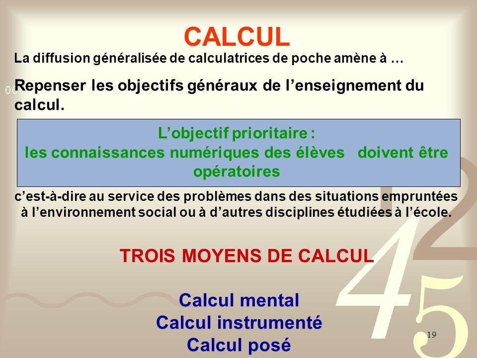 19 CALCUL La diffusion généralisée de calculatrices de poche amène à … Repenser les objectifs généraux de lenseignement du calcul. Lobjectif prioritai
