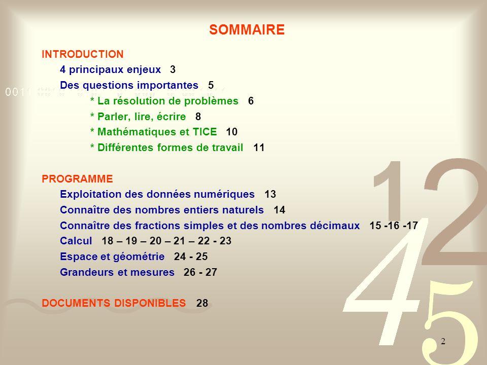 2 SOMMAIRE INTRODUCTION 4 principaux enjeux 3 Des questions importantes 5 * La résolution de problèmes 6 * Parler, lire, écrire 8 * Mathématiques et T