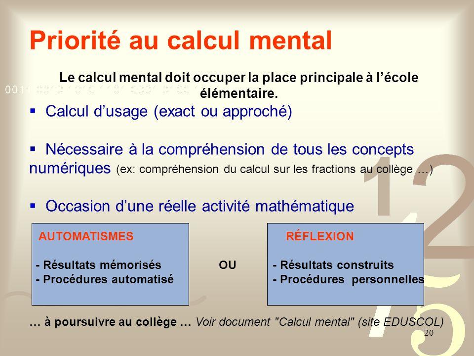 20 Priorité au calcul mental Le calcul mental doit occuper la place principale à lécole élémentaire. Calcul dusage (exact ou approché) Nécessaire à la
