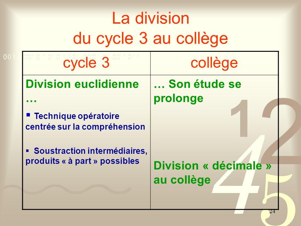24 La division du cycle 3 au collège cycle 3collège Division euclidienne … Technique opératoire centrée sur la compréhension Soustraction intermédiair