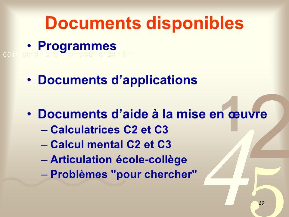 29 Documents disponibles Programmes Documents dapplications Documents daide à la mise en œuvre –Calculatrices C2 et C3 –Calcul mental C2 et C3 –Articu