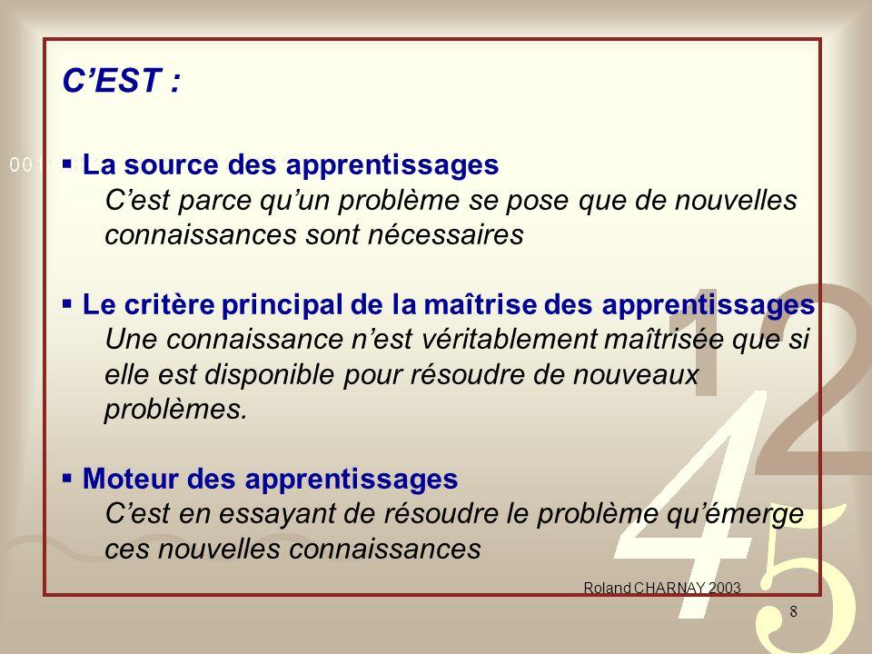 8 CEST : La source des apprentissages Cest parce quun problème se pose que de nouvelles connaissances sont nécessaires Le critère principal de la maît