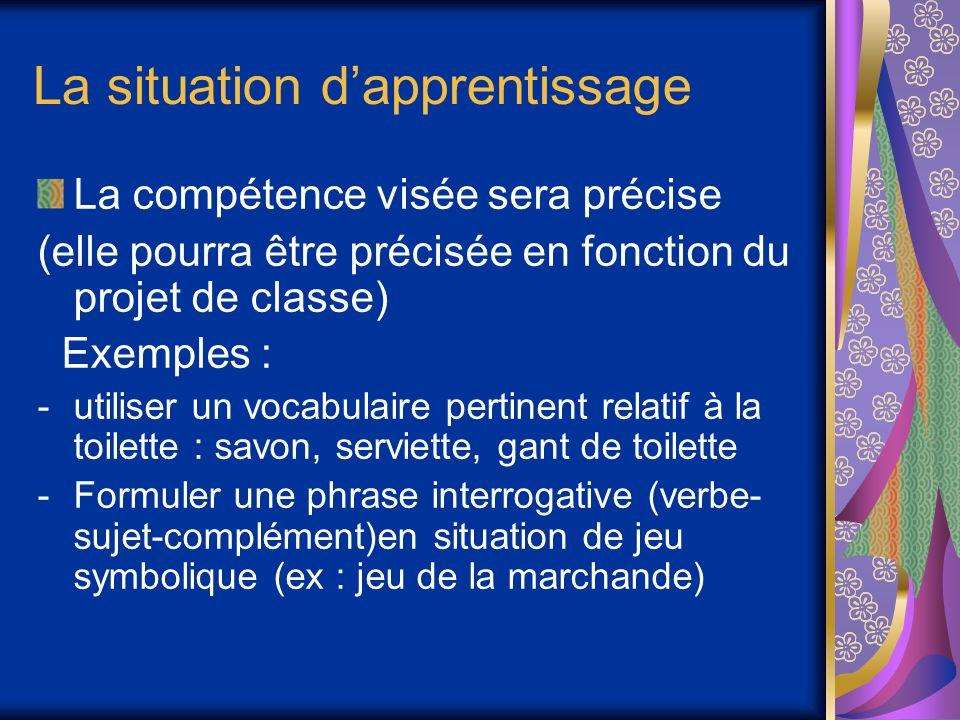 La situation dapprentissage La compétence visée sera précise (elle pourra être précisée en fonction du projet de classe) Exemples : -utiliser un vocab