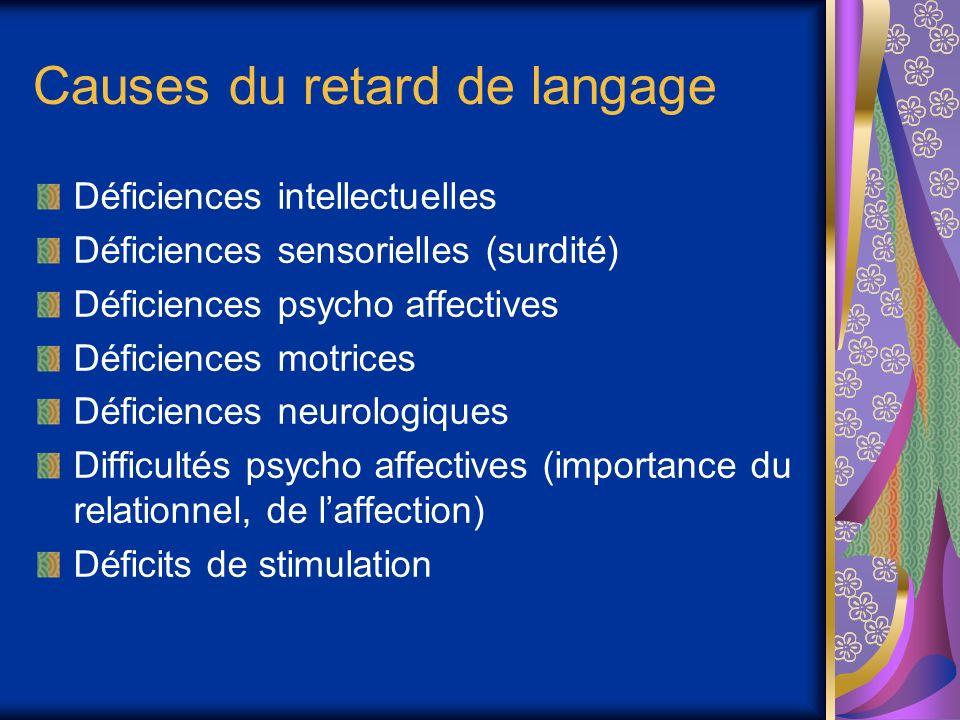 Causes du retard de langage Déficiences intellectuelles Déficiences sensorielles (surdité) Déficiences psycho affectives Déficiences motrices Déficiences neurologiques Difficultés psycho affectives (importance du relationnel, de laffection) Déficits de stimulation