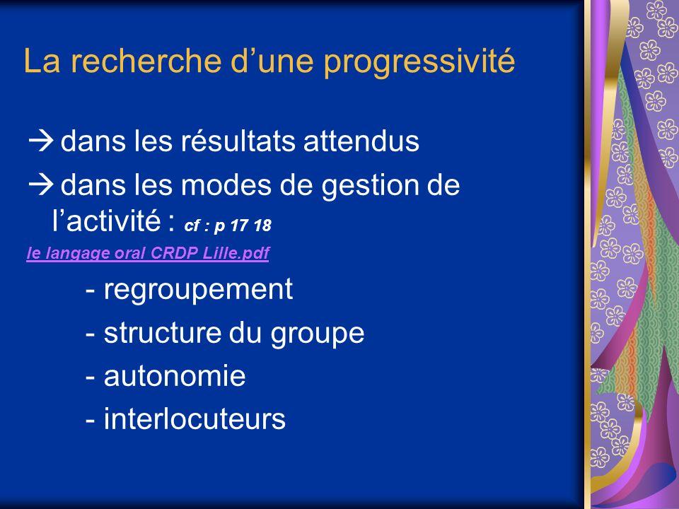 La recherche dune progressivité dans les résultats attendus dans les modes de gestion de lactivité : cf : p 17 18 le langage oral CRDP Lille.pdf - regroupement - structure du groupe - autonomie - interlocuteurs