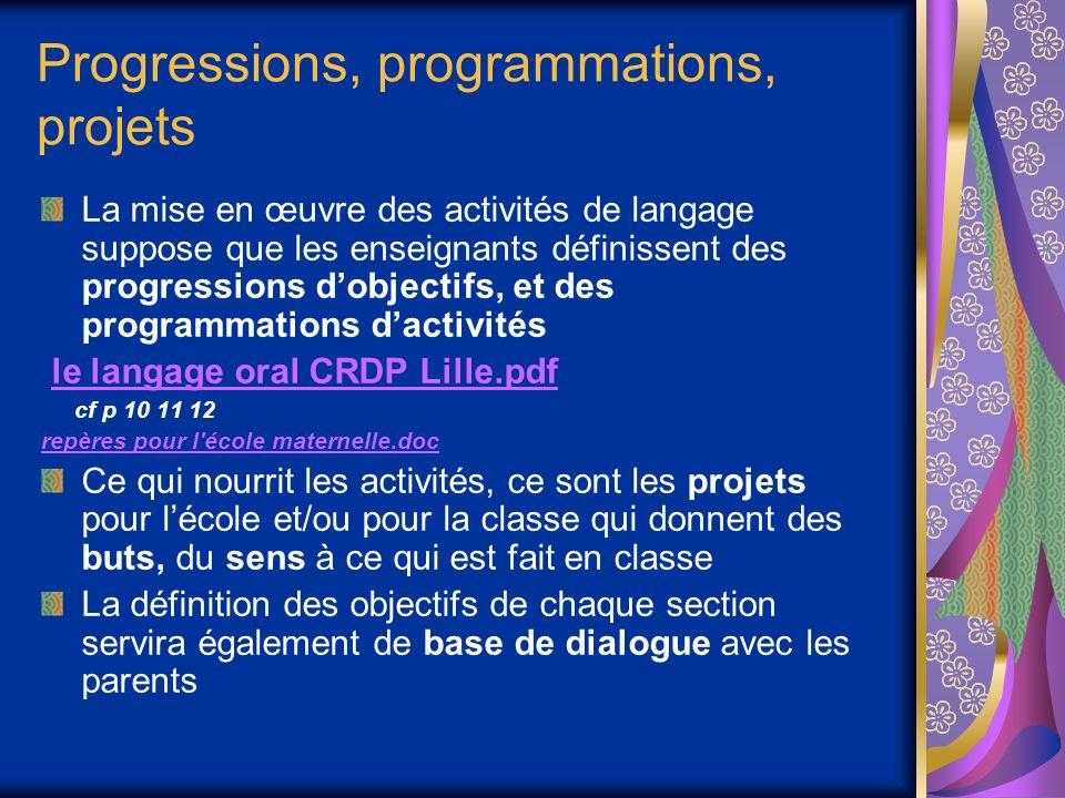 Progressions, programmations, projets La mise en œuvre des activités de langage suppose que les enseignants définissent des progressions dobjectifs, e
