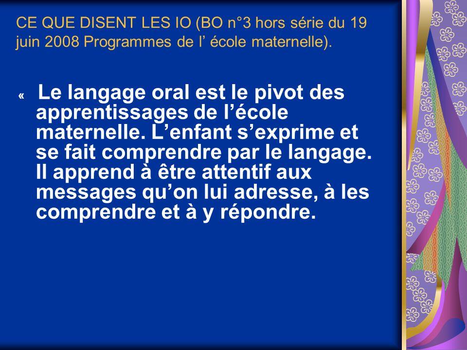 CE QUE DISENT LES IO (BO n°3 hors série du 19 juin 2008 Programmes de l école maternelle). « Le langage oral est le pivot des apprentissages de lécole